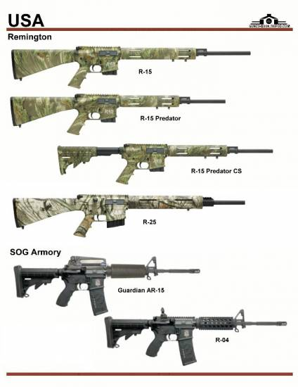 США: Remington R-15 Series, Remington R-25, SOG...