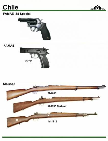 Чили: FAMAE .38 Special, FN750, Mauser M 1895, ...